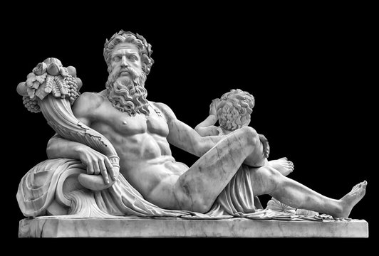 Marble statue of greek god with cornucopia in his hands.