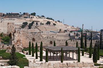 Gerusalemme, Israele: Il Monte degli Ulivi e gli scavi archeologici del Monte del Tempio il 6 Settembre 2015