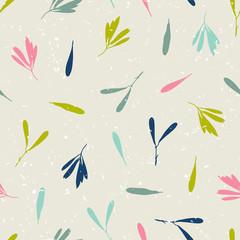 Wektorowy bezszwowy wzór z sylwetkami liście i ziarna drzewo, modnisia wektoru tło. - 116774803