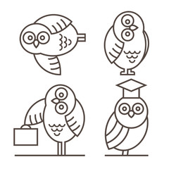 Set of Owl icons isolated on white