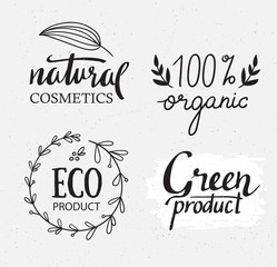Organic, bio, ecology natural labels vector set. Green logo with plants elements, wreaths and texture. Hand drawing  hipster design.