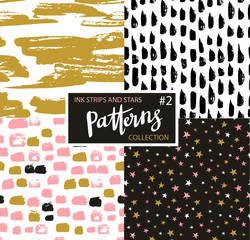 Hand drawn seamless patterns. Vector hipster backgrounds with ink strokes and stars. Color ink design.