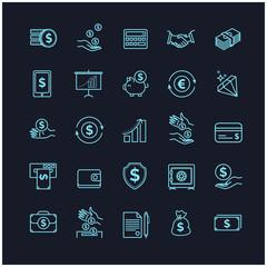 Money icons set. UI money elements on a black background