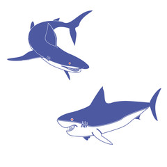 Vector illustration of a logo of two blue sharks.Insulated drawing,consists of predators,sea,ocean,fin,tail,red eyes,gills,teeth,jaw, close-up on white background.Icon for cartoon,magazine,article,art