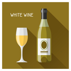 Bottle and glass of white wine in flat design style