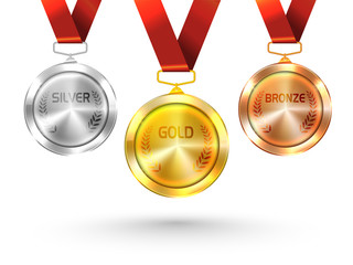 Gold, Silver and Bronze Medals for Olympic Games.