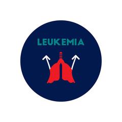 Vector icon  on  circle various symptoms of leukemia on bodies