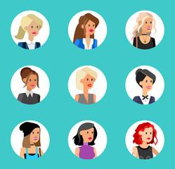 Cute cartoon human avatars set