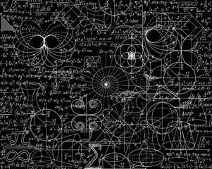 Mathematical vector seamless pattern with math calculations, formulas, plots, figures and equations shuffled together. You can use any color of background