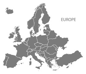 Europe with countries Map grey