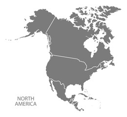 North America with countries Map grey