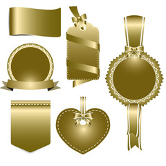 Set of gold badges label and ribbon, vector tag illustration