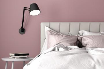 Schlafzimmer mit Doppelbett Nahaufnahme