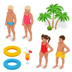 Girl and boy in a bathing suit, palm tree, life preserver, Orange juice. Summertime concept. Flat 3d vector isometric set icons