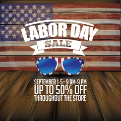 Labor Day Sale wooden American flag background. EPS 10 vector.