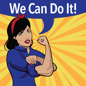 We Can Do It. Retro cartoon woman power and labor war effort design.