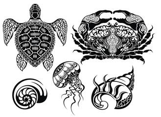 Crustacean Vector illustrations.Sea life