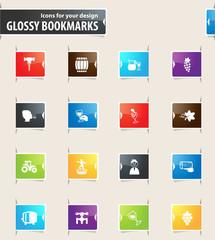 Vineyard and Wine Bookmark Icons