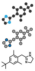 Xylometazoline nasal decongestant molecule.