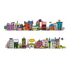 European city street, sketch for your design