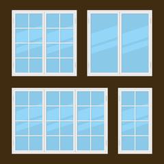 Flat Style Windows Types Set. Vector