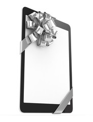 Black tablet with silver bow and empty screen. 3D rendering.