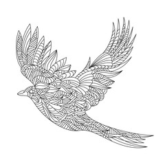 Vector monochrome hand drawn zentagle illustration of magpie. Co