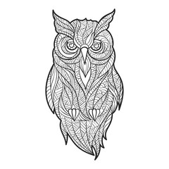Vector monochrome hand drawn zentagle illustration of owl.