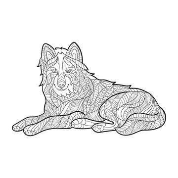 Vector monochrome hand drawn zentagle illustration of wolf.