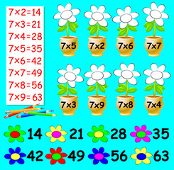 Exercise for children with multiplication by seven - need to paint the flowers in relevant color. Developing skills for counting. Vector image.