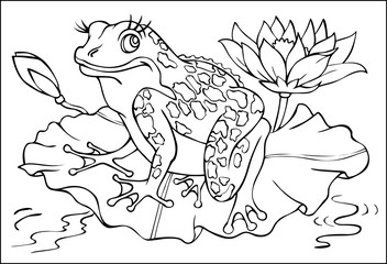Page with black and white illustration of frog for coloring. Developing children skills for drawing. Vector image.