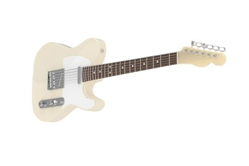 Isolated beige electric guitar on white background. Concert and studio equipment. Musical instrument. Rock, blues style. 3D rendering.