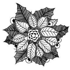 Monochrome poinsettia. Vector illustration.