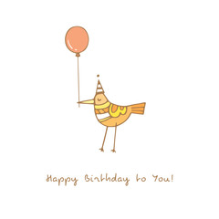 Birthday card with cute cartoon bird in party hat and balloon. Funny animal gives a gift. Vector colorful  image. Doodle style.