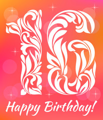 Bright Greeting card Invitation Template. Celebrating 16 years birthday. Decorative Font with swirls and floral elements.