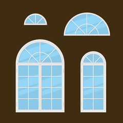 Flat Style Windows Types Set. Vector