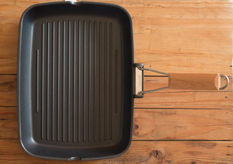 Grill pan on a wooden table