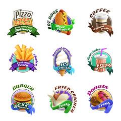 Fastfood Cartoon Colorful Emblems Set