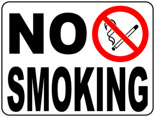 No smoking sign with text and picture illustration