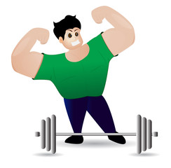 Muscle man Strong man on a white background