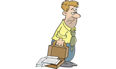 Cartoon illustration of an tired man with an open briefcase.