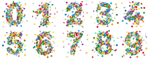 Colorful Abstract Vector Confetti Numbers Set - Collection of Figures from Zero to Nine.