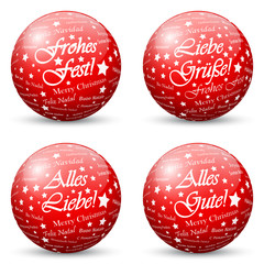 Red 3D Vector Spheres with Mapped Greeting Texture for Holiday Season - Merry Christmas, Love and Kisses in German Language
