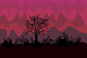 dark forest flat desing
