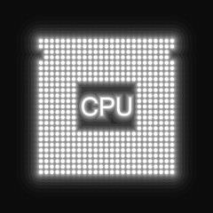 White glowing CPU icon