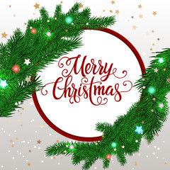 Merry Christmas Lettering and Fir Branches