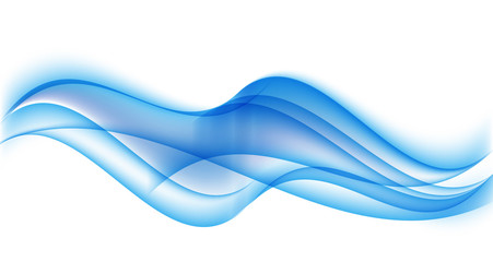 Abstract Blue Wave Set on Transparent  Background. Vector Illust