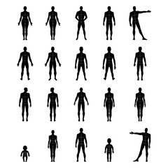 Full length front, back human silhouette set with marked body's