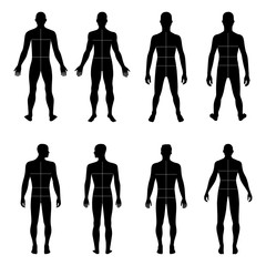 Full length front, back man silhouette set with marked body's si