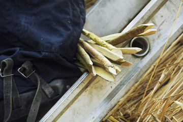 Close up of a bunch of wooden pegs used for thatching a roof.